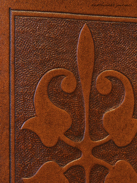 A7 brown leather journal - victorian art nouveau design detail - earthworks journals - A7C007