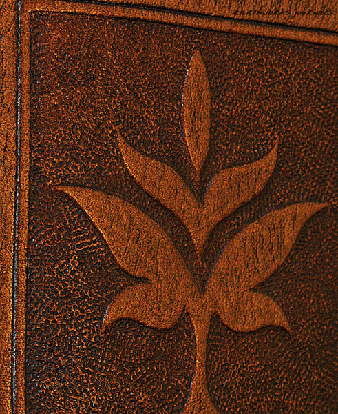 A7 brown leather journal - victorian art nouveau leaf design detail - earthworks journals - A7C004