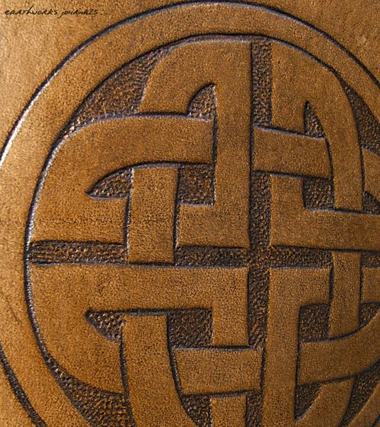 A6 brown leather journal - celtic circle knot detail - earthworks journals - A6C011