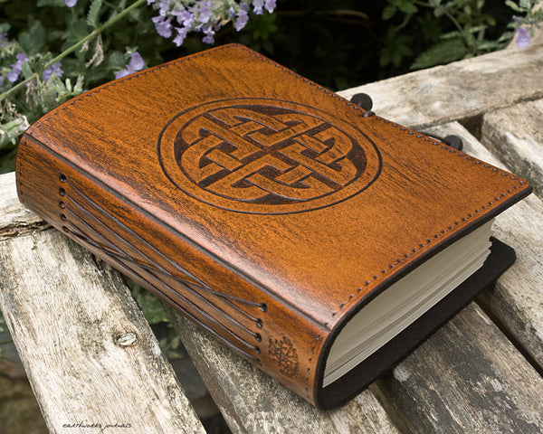 A6 brown leather journal - celtic circle knot - earthworks journals - A6C011