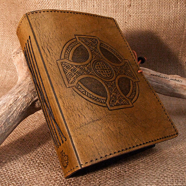 A6 brown leather journal - celtic cross 2 - earthworks journals - A6C012