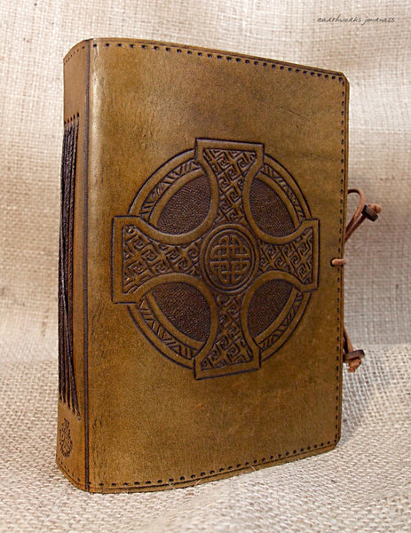 A6 brown leather journal - celtic cross 3 - earthworks journals - A6C012
