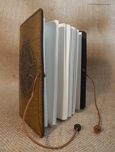 A6 brown leather journal - celtic cross open - earthworks journals - A6C012