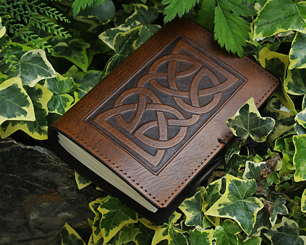 A6 brown leather journal - celtic knot - earthworks journals - A6C004