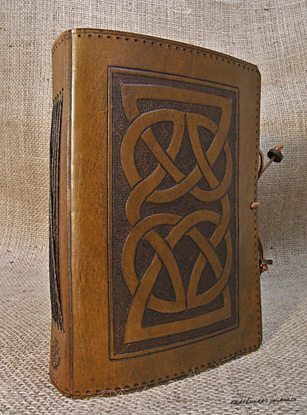 A6 brown leather journal - celtic knot 3 - earthworks journals - A6C004