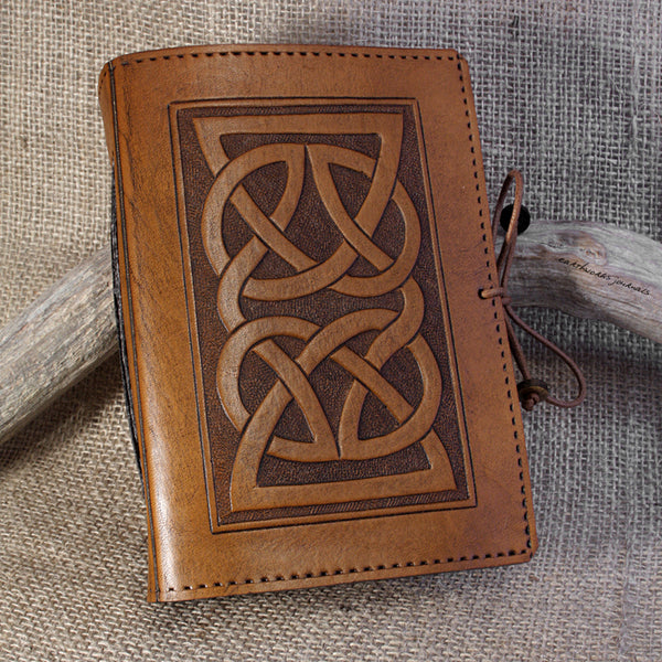 A6 brown leather journal - celtic knot 2 - earthworks journals - A6C004