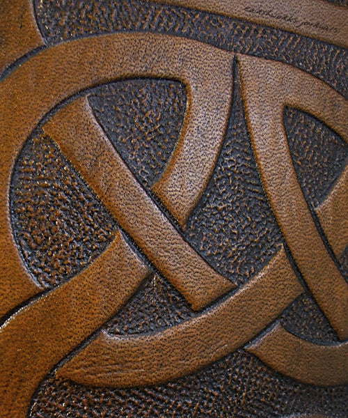 A6 brown leather journal - celtic knot detail - earthworks journals - A6C004