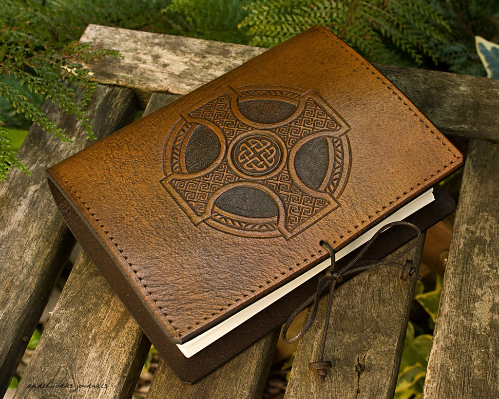 A6 brown leather journal - celtic cross - earthworks journals - A6C012