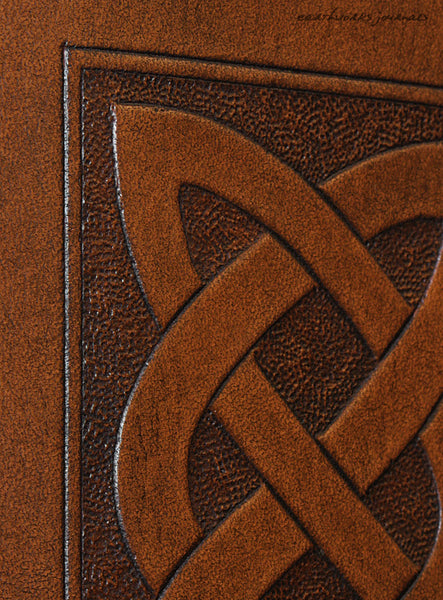A7 brown leather journal - celtic knot plait design detail - earthworks journals - A7C003