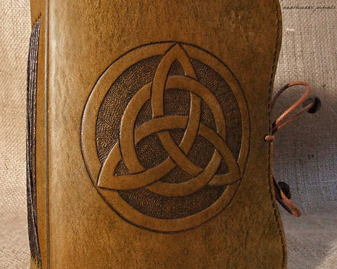 A6 brown leather journal - celtic triquetra - earthworks journals - A6C002