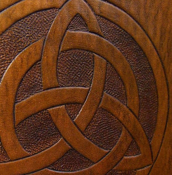 A5 brown leather journal - celtic triquetra detail - earthworks journals - A5C021