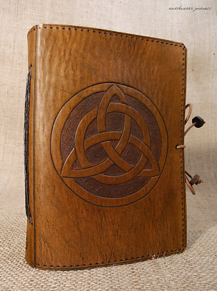 A6 brown leather journal - celtic triquetra 2 - earthworks journals - A6C006