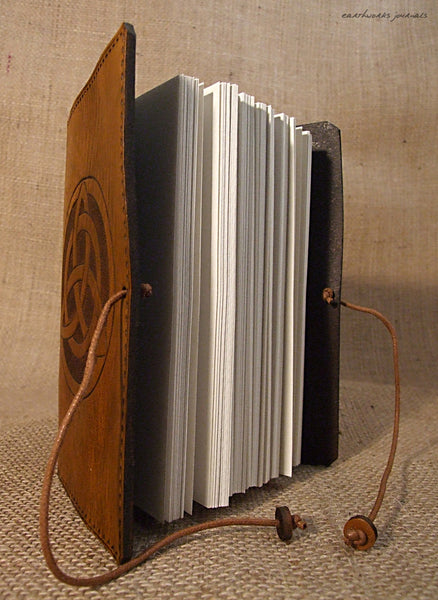 A6 brown leather journal - celtic triquetra open - earthworks journals - A6C006