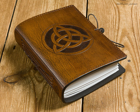 A6 brown leather journal - celtic triquetra - earthworks journals - A6C006