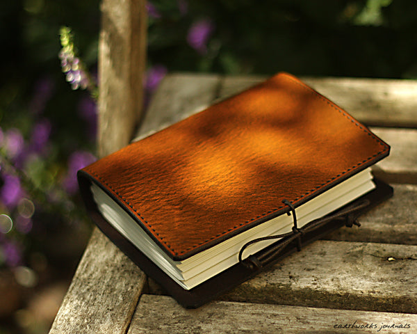 A6 brown leather journal - plain classic - earthworks journals A6PC001
