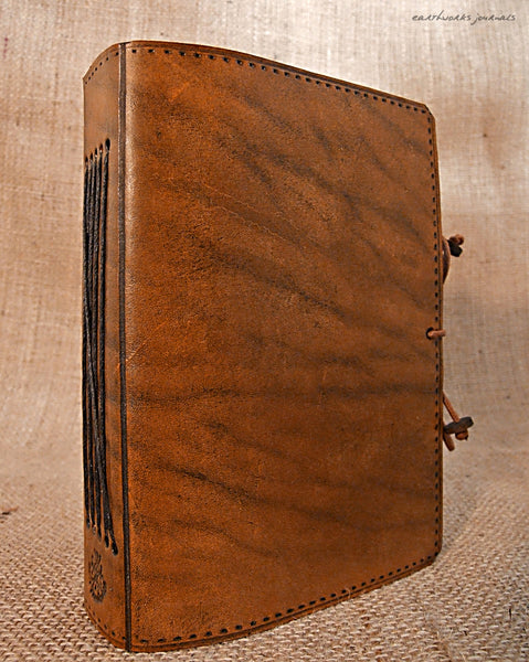 A6 brown leather journal - plain classic 2 - earthworks journals A6PC001