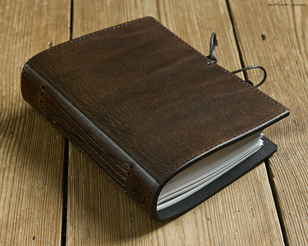 A6 dark brown leather journal - plain classic - earthworks journals A6PC003