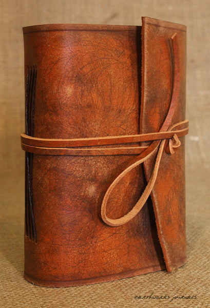 A6 distressed brown leather journal - wraparound 5 - earthworks journals - A6W001