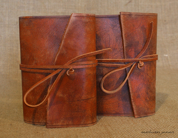 A6 distressed brown leather journal - wraparound 6 - earthworks journals - A6W001