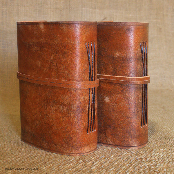 A6 distressed brown leather journal - wraparound 7 - earthworks journals - A6W001