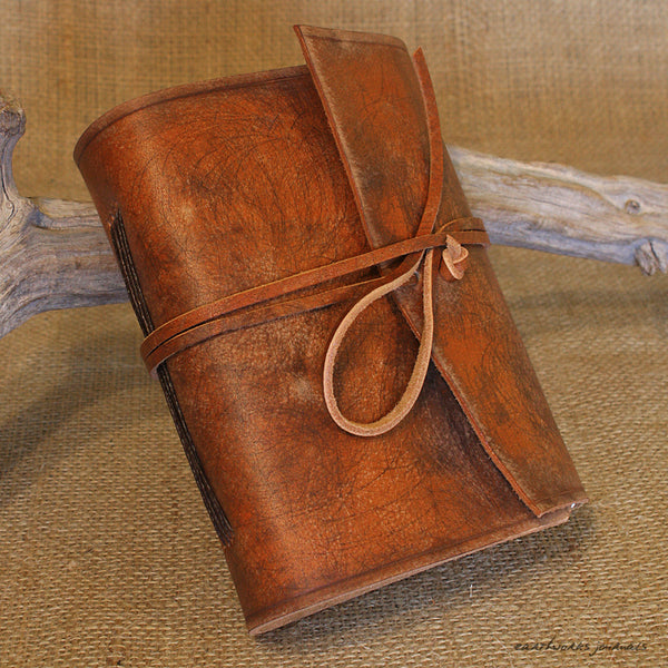 A6 distressed brown leather journal - wraparound 3 - earthworks journals - A6W001