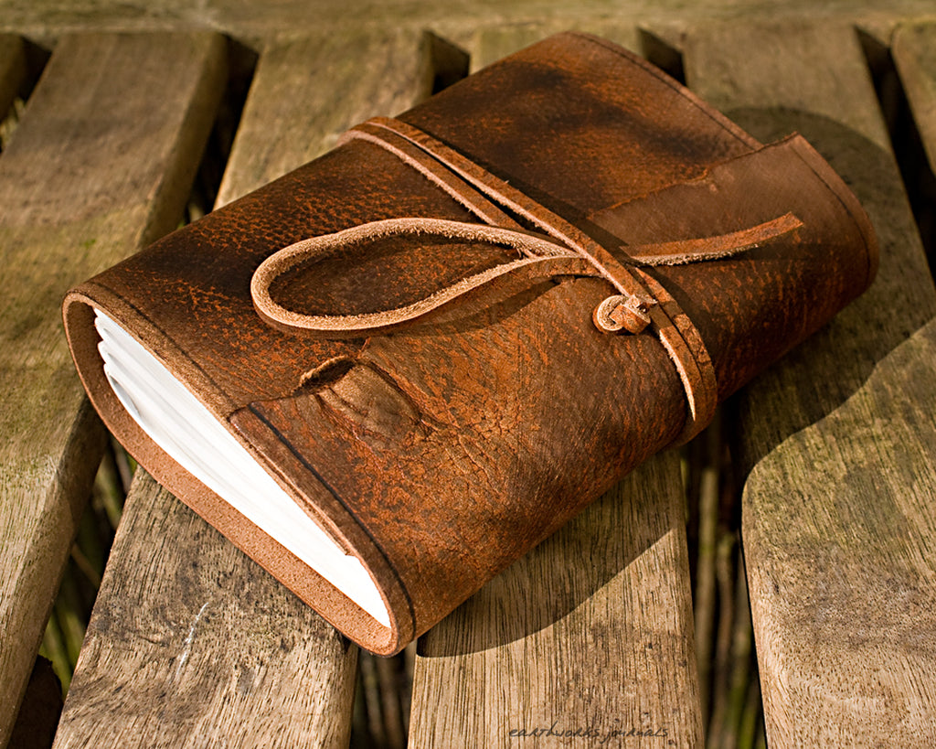 A6 distressed brown leather journal - wraparound - earthworks journals - A6W001