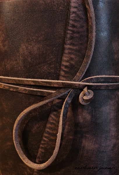 A6 distressed dark brown leather journal detail - wraparound - earthworks journals - A6W014