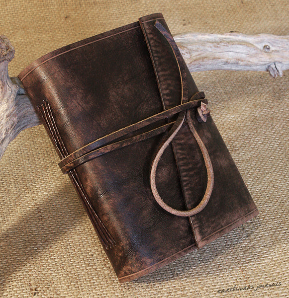 A6 distressed dark brown leather journal 4 - wraparound - earthworks journals - A6W014