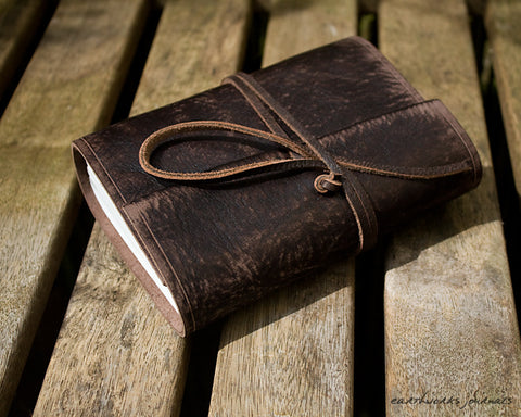 A6 distressed dark brown leather journal 2 - wraparound - earthworks journals - A6W014