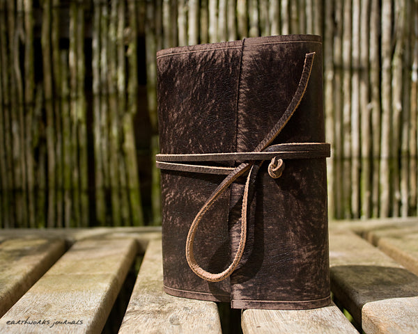 A6 distressed dark brown leather journal - wraparound - earthworks journals - A6W014
