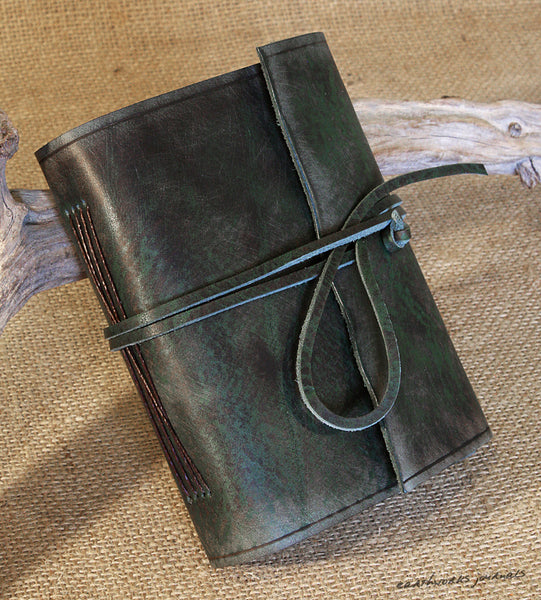 A6 distressed green leather journal 3 - wraparound - earthworks journals - A6W013