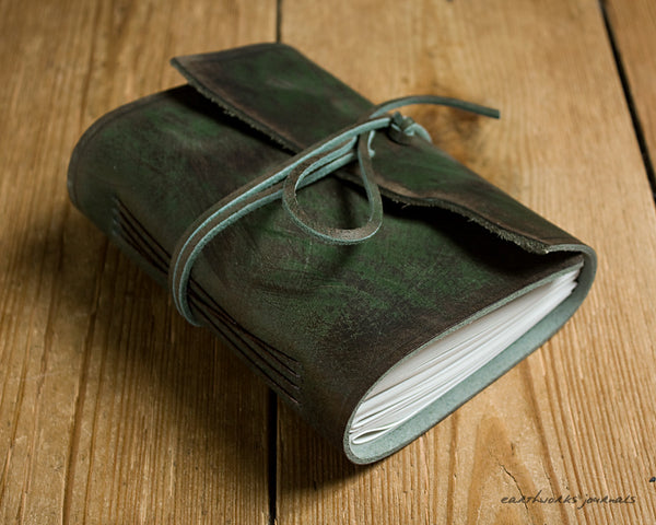 A6 distressed green leather journal 2 - wraparound - earthworks journals - A6W013