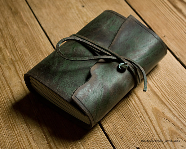A6 distressed green leather journal - wraparound - earthworks journals - A6W013