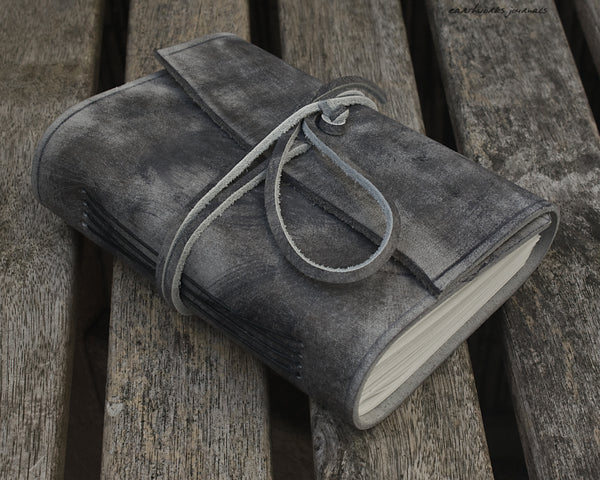 A6 distressed grey leather journal 2 - wraparound - earthworks journals - A6W021
