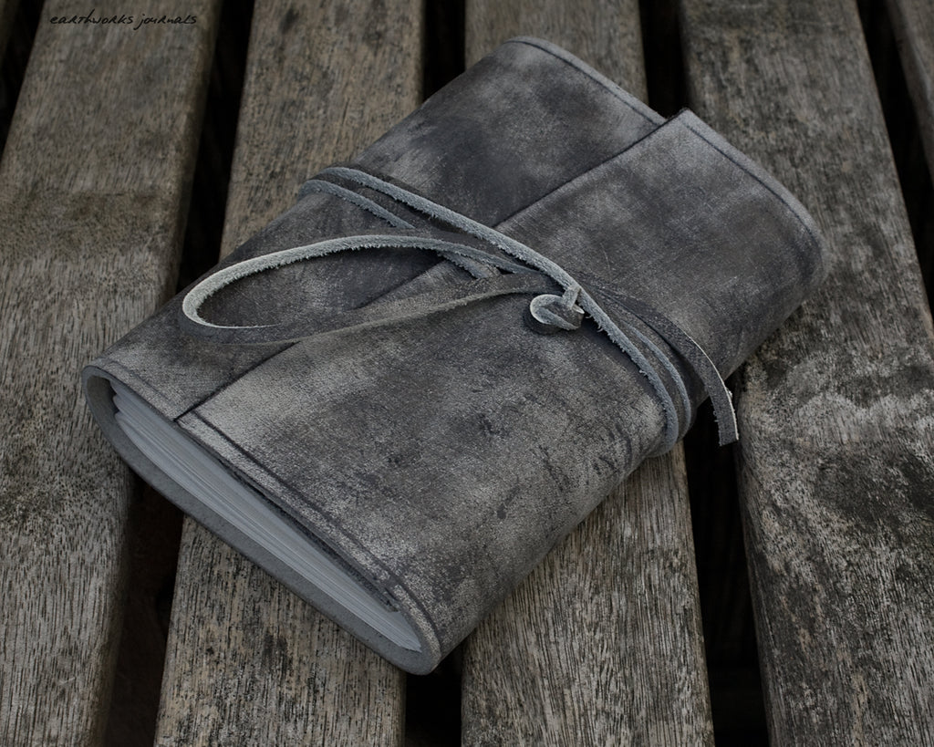 A6 distressed grey leather journal - wraparound - earthworks journals - A6W021
