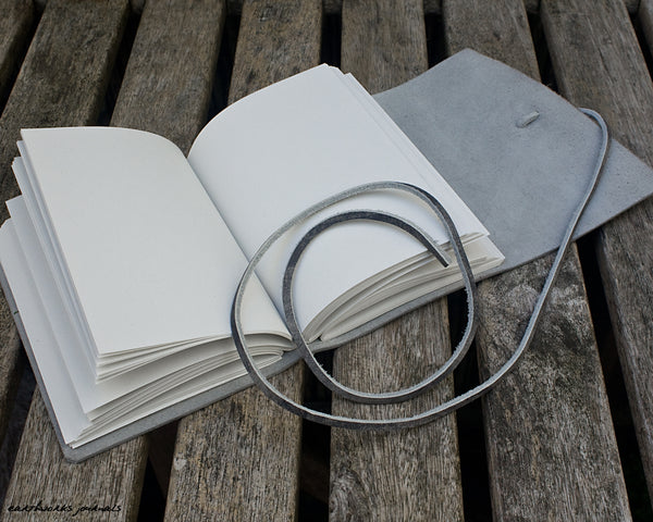 A6 distressed grey leather journal open - wraparound - earthworks journals - A6W021
