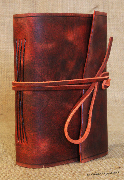 A6 distressed oxblood red leather journal 5 - wraparound - earthworks journals - A6W012
