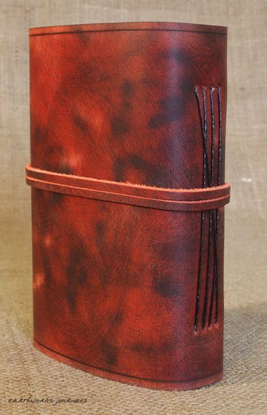 A6 distressed oxblood red leather journal 6 - wraparound - earthworks journals - A6W012