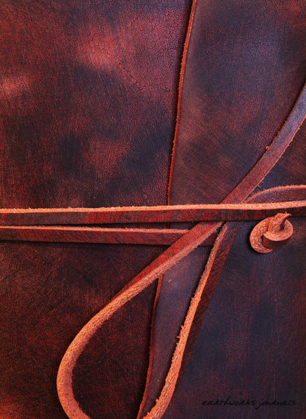 A5 distressed oxblood red leather journal detail - wraparound - earthworks journals - A5W013