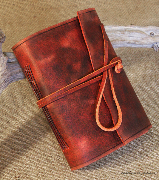 A6 distressed oxblood red leather journal 3 - wraparound - earthworks journals - A6W012
