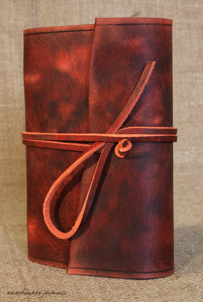 A6 distressed oxblood red leather journal 4 - wraparound - earthworks journals - A6W012