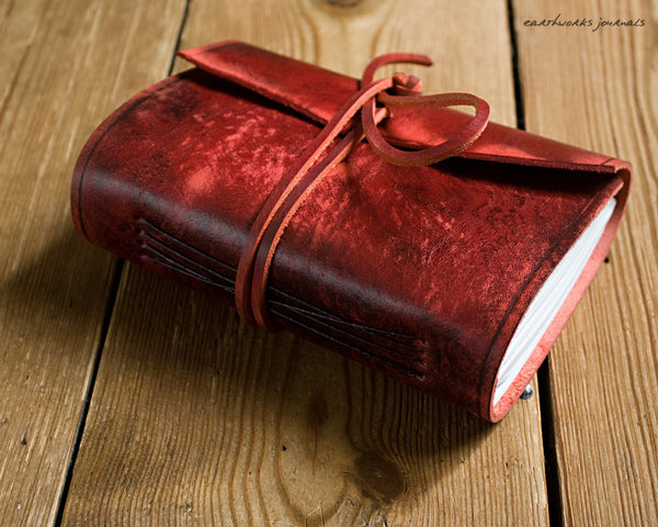A6 distressed oxblood red leather journal 2 - wraparound - earthworks journals - A6W012