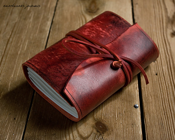 A6 distressed oxblood red leather journal - wraparound - earthworks journals - A6W012