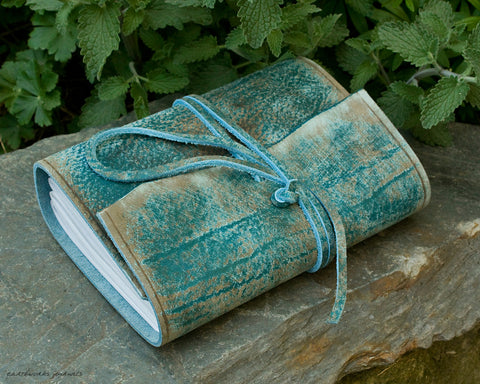 A6 distressed sea blue leather journal - wraparound - earthworks journals - A6W018