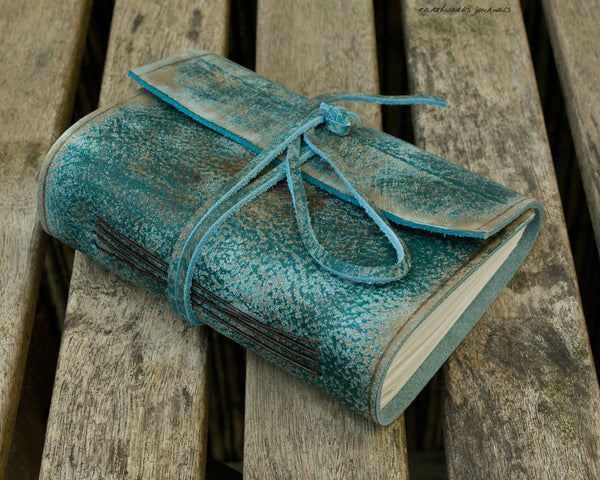 A6 distressed sea blue leather journal 2 - wraparound - earthworks journals - A6W018