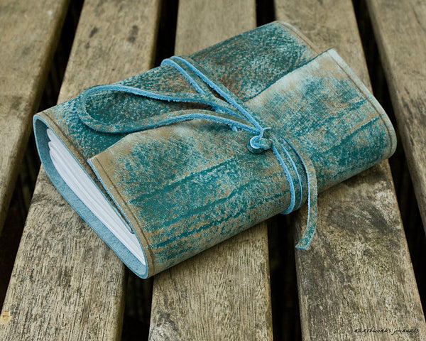 A6 distressed sea blue leather journal 3 - wraparound - earthworks journals - A6W018