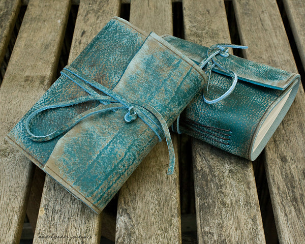 A6 distressed sea blue leather journal 4 - wraparound - earthworks journals - A6W018