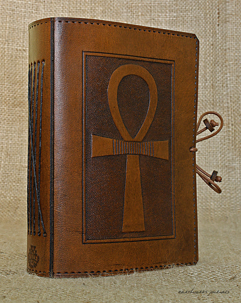 A6 brown leather journal - egyptian ankh 2 - earthworks journals - A6C001