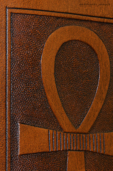 A6 brown leather journal - egyptian ankh detail - earthworks journals - A6C001