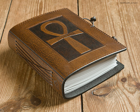 A6 brown leather journal - egyptian ankh - earthworks journals - A6C001